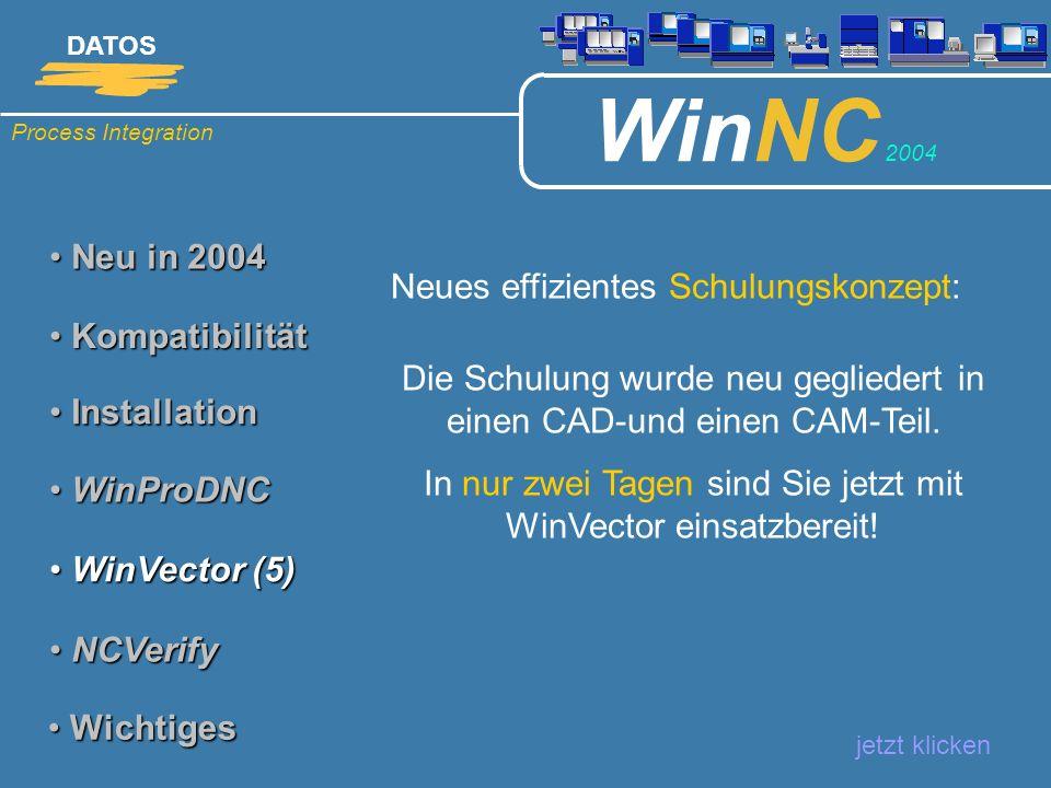 Process Integration DATOS WinNC 2004 Neu in 2004 Neu in 2004 Neues effizientes Schulungskonzept: jetzt klicken Kompatibilität Kompatibilität Installat