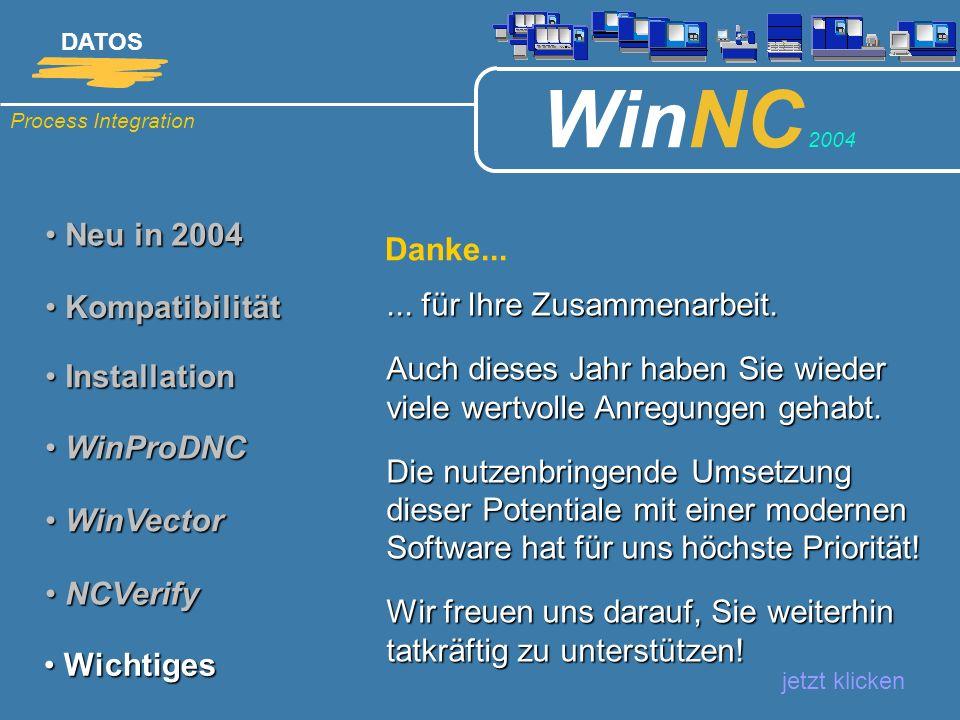 Process Integration DATOS WinNC 2004 Neu in 2004 Neu in 2004 jetzt klicken Kompatibilität Kompatibilität Installation Installation WinProDNC WinProDNC