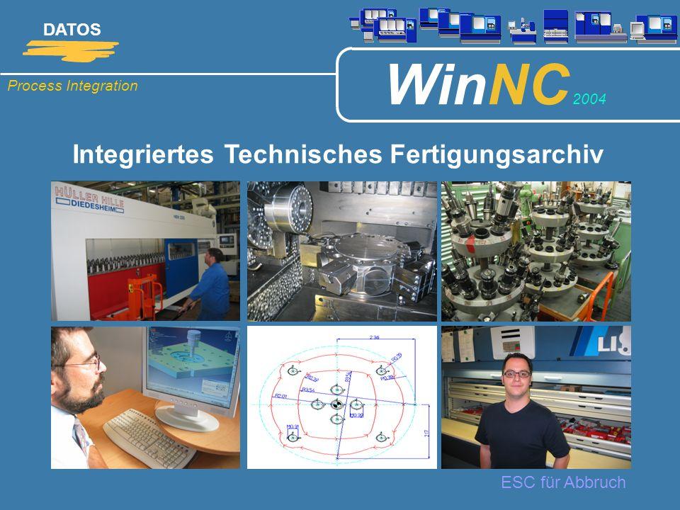 Process Integration DATOS WinNC 2004 ESC für Abbruch Integriertes Technisches Fertigungsarchiv