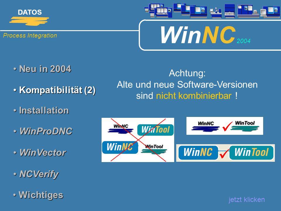 Process Integration DATOS WinNC 2004 Neu in 2004 Neu in 2004 Neues effizientes Schulungskonzept: jetzt klicken Kompatibilität Kompatibilität Installation Installation WinProDNC WinProDNC WinVector (5) WinVector (5) NCVerify NCVerify Wichtiges Wichtiges Die Schulung wurde neu gegliedert in einen CAD-und einen CAM-Teil.