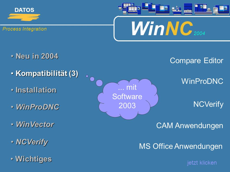 Process Integration DATOS WinNC 2004 Neu in 2004 Neu in 2004 jetzt klicken Kompatibilität (4) Kompatibilität (4) Installation Installation WinProDNC WinProDNC WinVector WinVector NCVerify NCVerify Wichtiges Wichtiges NT, 2000, XP, Terminalserver, Citrix Access 2000 / 2003 SQL Server 2000 Hardlock: Blau, Klein, USB...