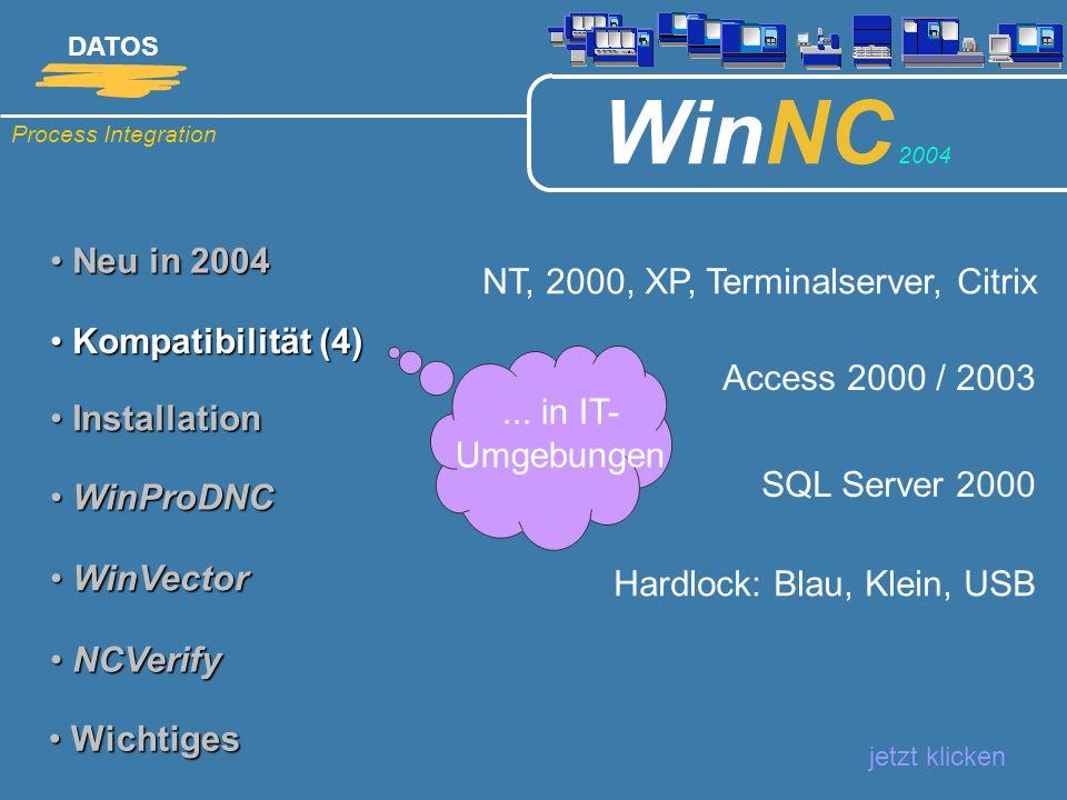 Process Integration DATOS WinNC 2004 Neu in 2004 Neu in 2004 jetzt klicken Kompatibilität (5) Kompatibilität (5) Installation Installation WinProDNC WinProDNC WinVector WinVector NCVerify NCVerify Wichtiges Wichtiges Access: nach Konvertierung SQL Server 2000: nach Migration MSDE: nach Migration...