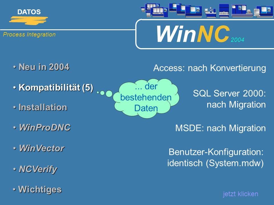 Process Integration DATOS WinNC 2004 Neu in 2004 Neu in 2004 jetzt klicken Kompatibilität (5) Kompatibilität (5) Installation Installation WinProDNC W
