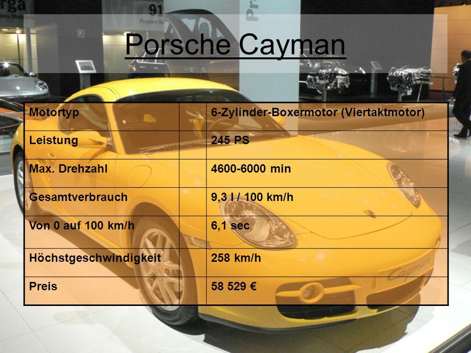 Porsche Cayman Motortyp6-Zylinder-Boxermotor (Viertaktmotor) Leistung245 PS Max. Drehzahl4600-6000 min Gesamtverbrauch9,3 l / 100 km/h Von 0 auf 100 k