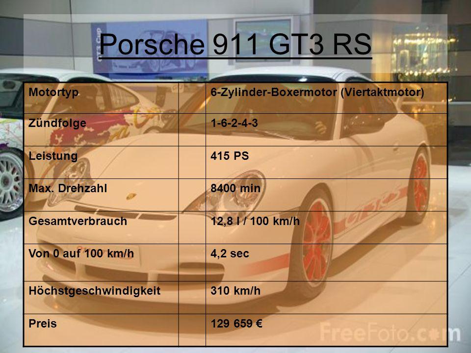 Porsche 911 GT3 RS Motortyp6-Zylinder-Boxermotor (Viertaktmotor) Zündfolge1-6-2-4-3 Leistung415 PS Max. Drehzahl8400 min Gesamtverbrauch12,8 l / 100 k