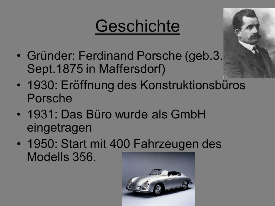 Geschichte Gründer: Ferdinand Porsche (geb.3. Sept.1875 in Maffersdorf) 1930: Eröffnung des Konstruktionsbüros Porsche 1931: Das Büro wurde als GmbH e