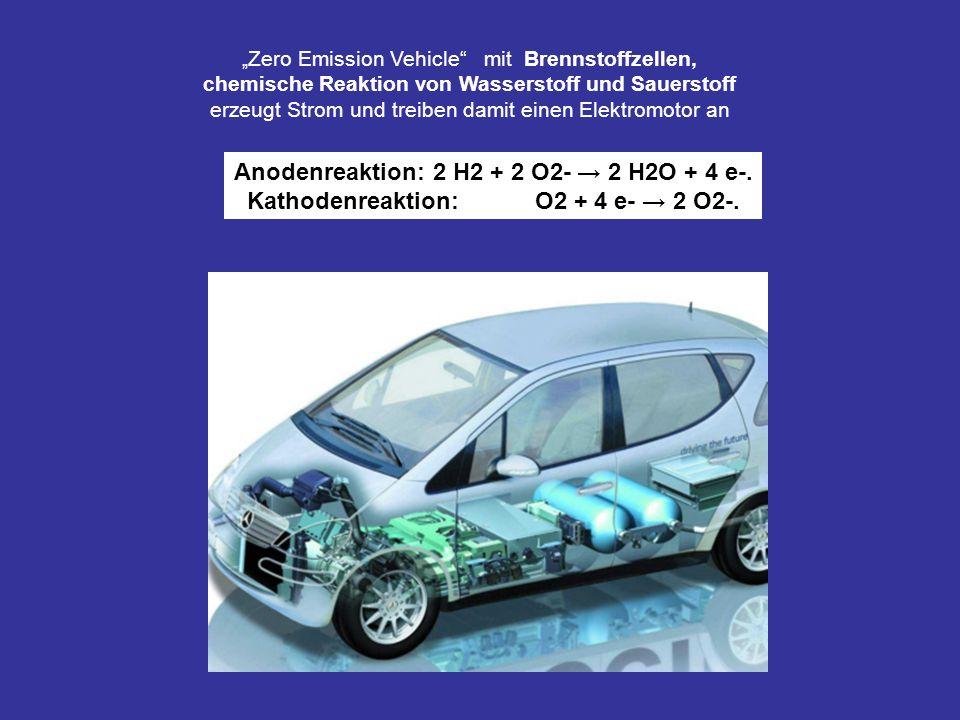 Zero Emission Vehicle mit Brennstoffzellen, chemische Reaktion von Wasserstoff und Sauerstoff erzeugt Strom und treiben damit einen Elektromotor an An