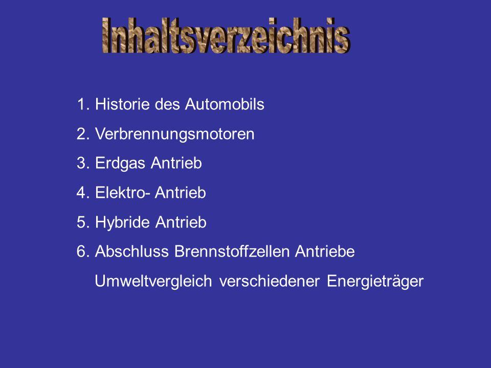 1.Historie des Automobils 2.Verbrennungsmotoren 3.Erdgas Antrieb 4.Elektro- Antrieb 5.Hybride Antrieb 6.Abschluss Brennstoffzellen Antriebe Umweltverg