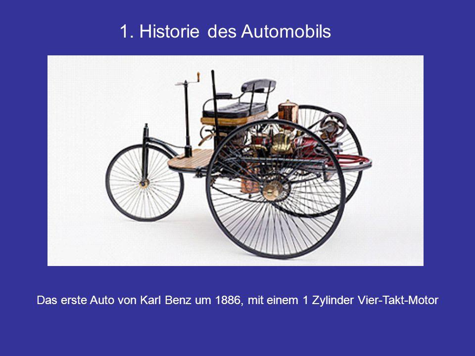 1. Historie des Automobils Das erste Auto von Karl Benz um 1886, mit einem 1 Zylinder Vier-Takt-Motor