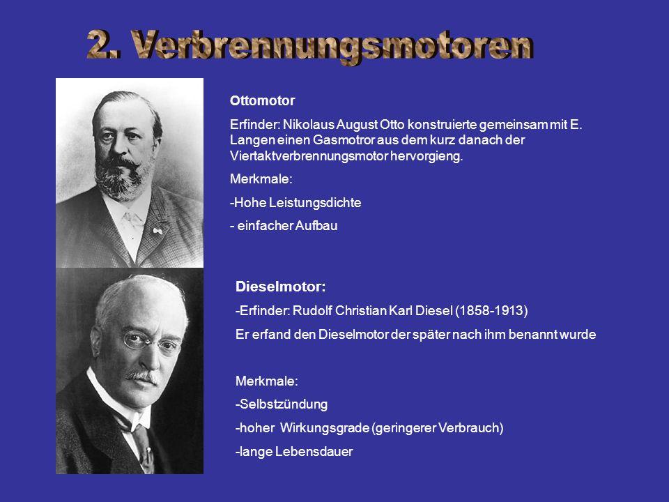 Ottomotor Erfinder: Nikolaus August Otto konstruierte gemeinsam mit E. Langen einen Gasmotror aus dem kurz danach der Viertaktverbrennungsmotor hervor