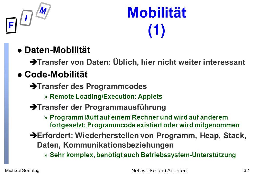 Michael Sonntag32 Netzwerke und Agenten Mobilität (1) l Daten-Mobilität èTransfer von Daten: Üblich, hier nicht weiter interessant l Code-Mobilität èT