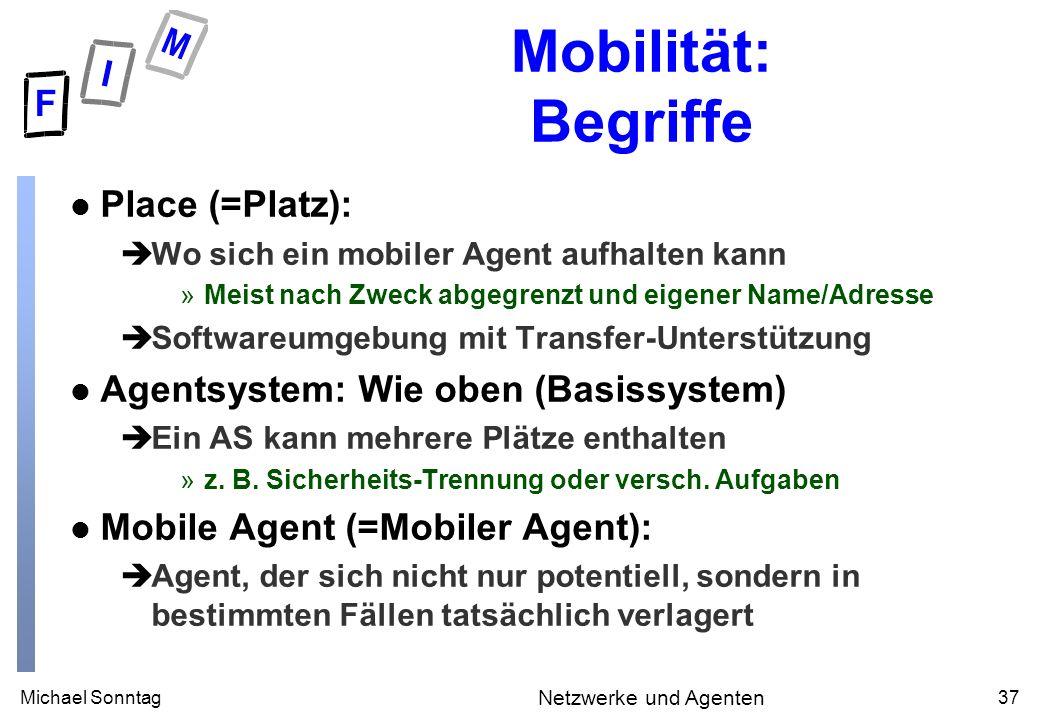 Michael Sonntag37 Netzwerke und Agenten Mobilität: Begriffe l Place (=Platz): èWo sich ein mobiler Agent aufhalten kann »Meist nach Zweck abgegrenzt u