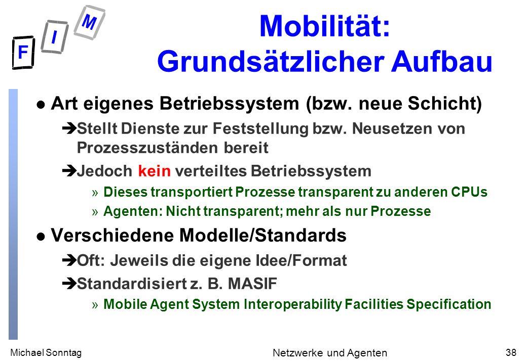 Michael Sonntag38 Netzwerke und Agenten Mobilität: Grundsätzlicher Aufbau l Art eigenes Betriebssystem (bzw. neue Schicht) èStellt Dienste zur Festste