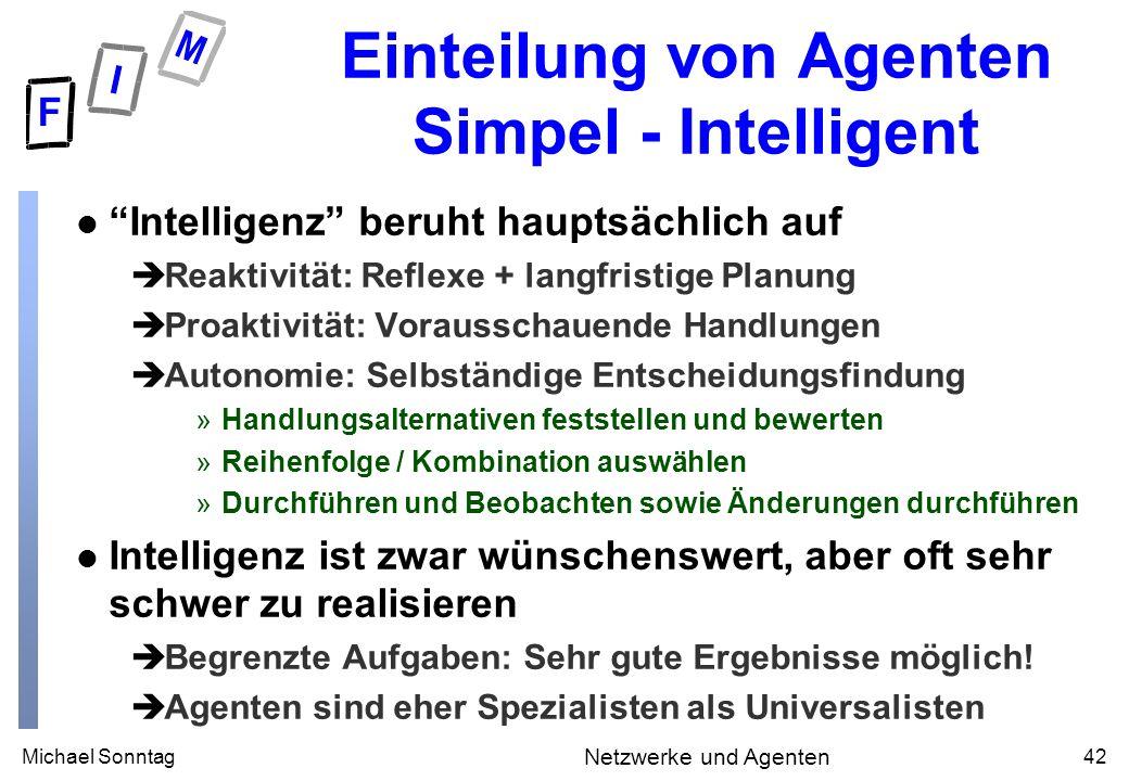 Michael Sonntag42 Netzwerke und Agenten Einteilung von Agenten Simpel - Intelligent l Intelligenz beruht hauptsächlich auf èReaktivität: Reflexe + lan