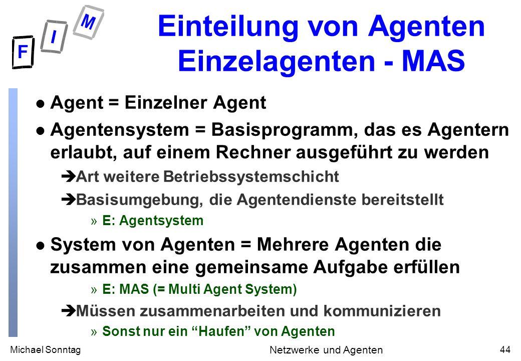 Michael Sonntag44 Netzwerke und Agenten Einteilung von Agenten Einzelagenten - MAS l Agent = Einzelner Agent l Agentensystem = Basisprogramm, das es A