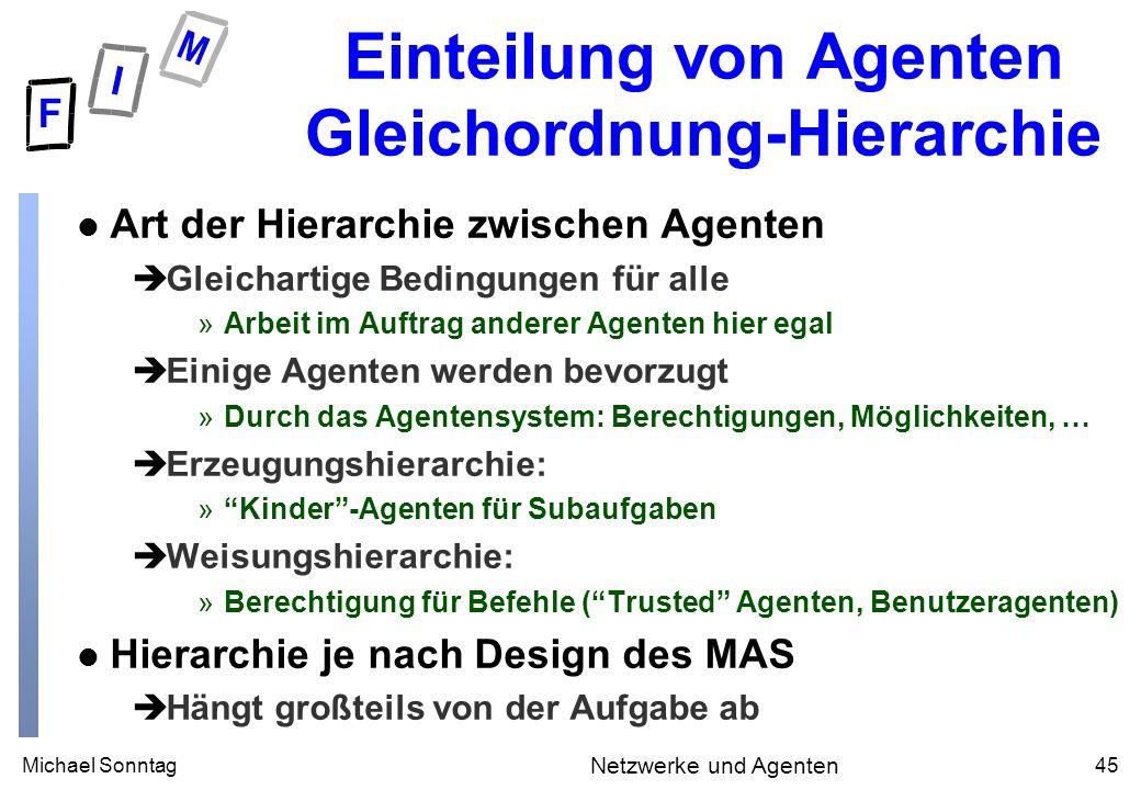 Michael Sonntag45 Netzwerke und Agenten Einteilung von Agenten Gleichordnung-Hierarchie l Art der Hierarchie zwischen Agenten èGleichartige Bedingunge
