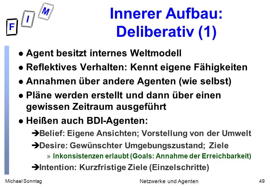 Michael Sonntag49 Netzwerke und Agenten Innerer Aufbau: Deliberativ (1) l Agent besitzt internes Weltmodell l Reflektives Verhalten: Kennt eigene Fähi