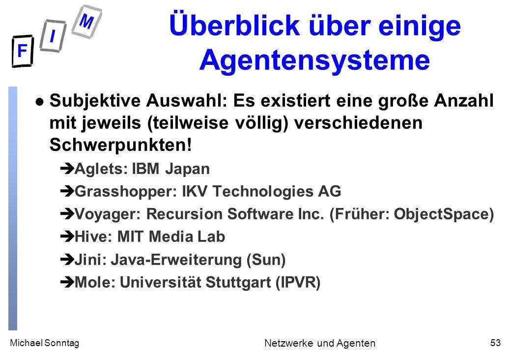 Michael Sonntag53 Netzwerke und Agenten Überblick über einige Agentensysteme l Subjektive Auswahl: Es existiert eine große Anzahl mit jeweils (teilweise völlig) verschiedenen Schwerpunkten.