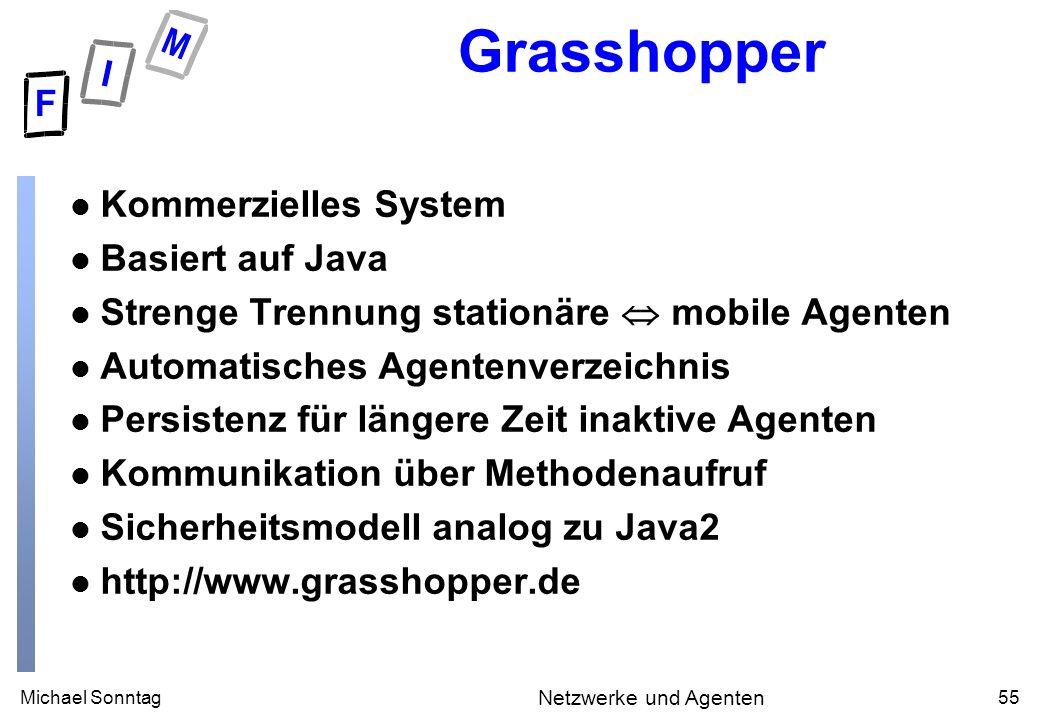 Michael Sonntag55 Netzwerke und Agenten Grasshopper l Kommerzielles System l Basiert auf Java l Strenge Trennung stationäre mobile Agenten l Automatis