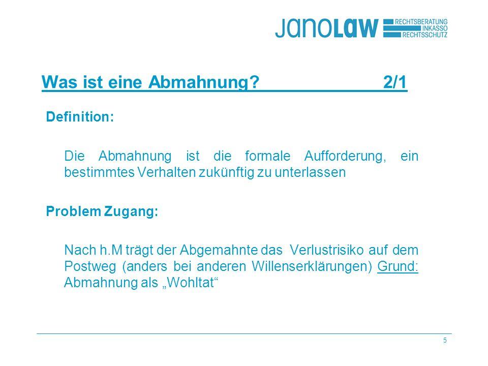 26 janoCash janoCall Die häufigsten Fehler – Beispiele 8/6 janoConsult Allgemeine Geschäfts- bedingungen (AGB) Angebot freibleibend -> LG Hamburg 18.01.2007, Az.