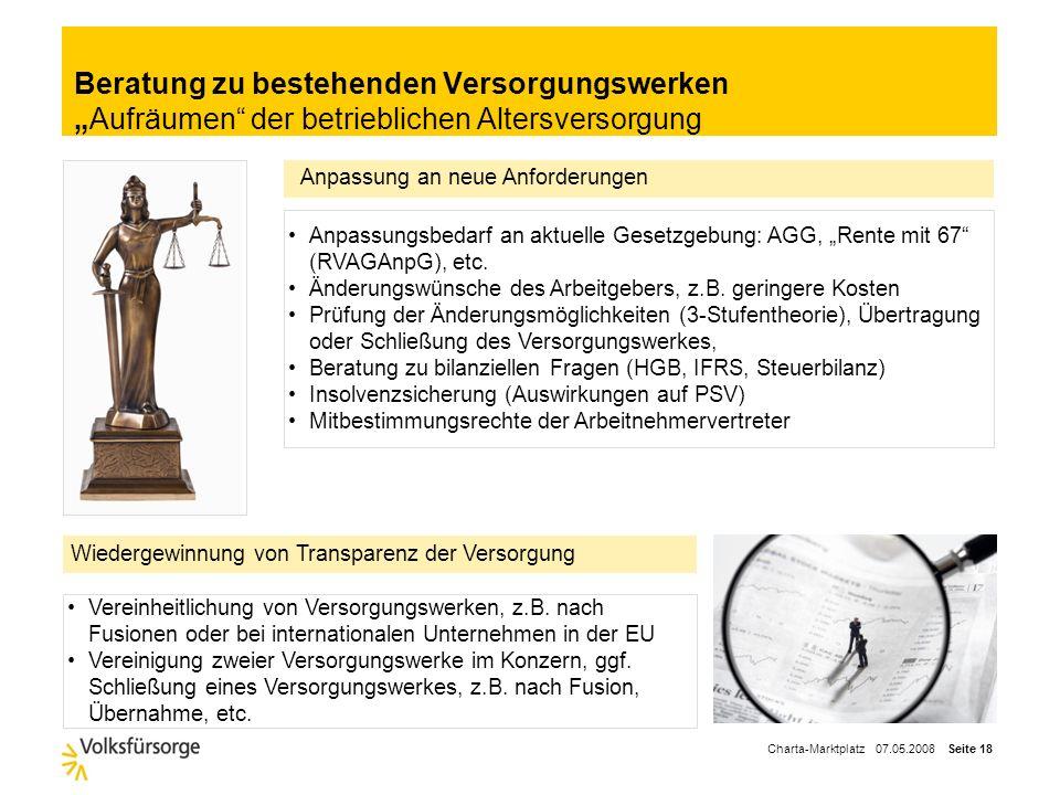 Charta-Marktplatz 07.05.2008 Seite 17 Auslagerung und Übertragung von Versorgungswerken Ein Zukunftsmarkt für Spezialisten Individuelle Beratung des K