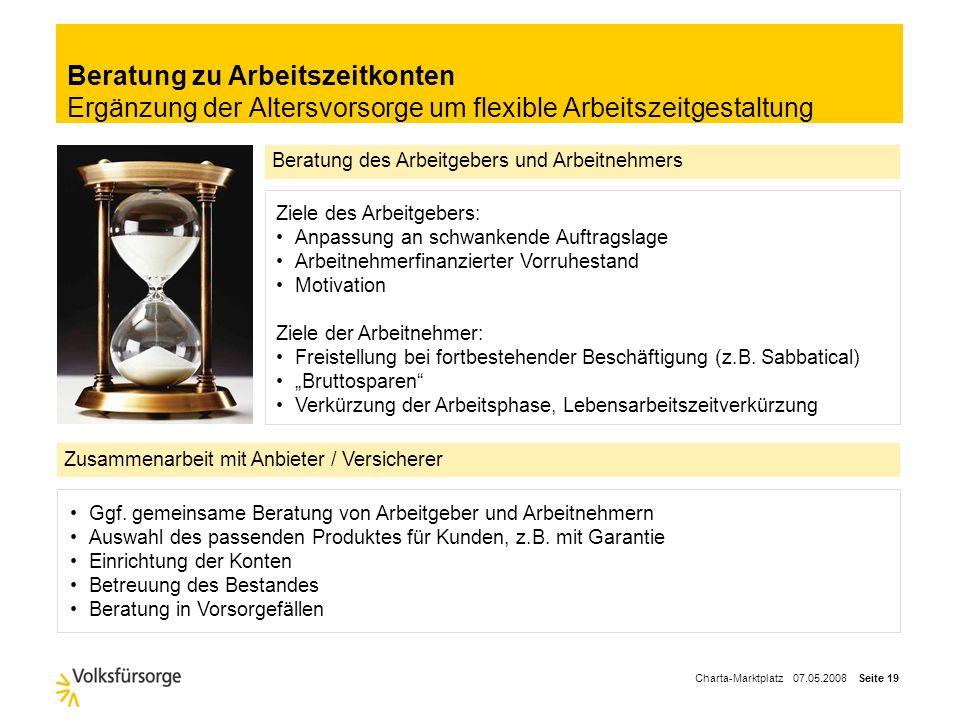 Charta-Marktplatz 07.05.2008 Seite 18 Beratung zu bestehenden VersorgungswerkenAufräumen der betrieblichen Altersversorgung Vereinheitlichung von Vers