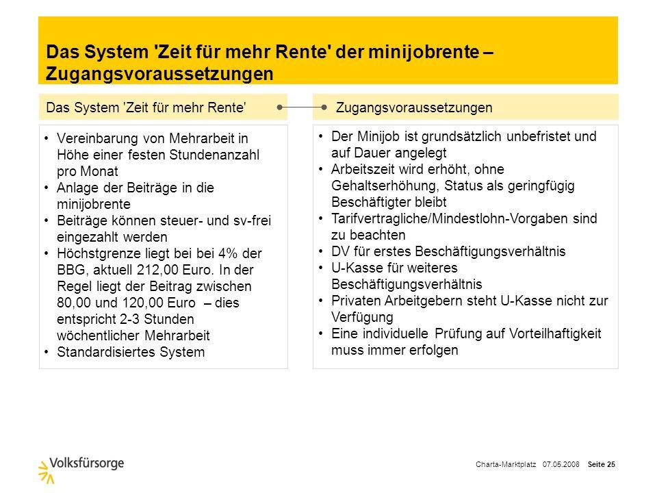 Charta-Marktplatz 07.05.2008 Seite 24 Die Zielgruppe von ca. 3,25 Mio. geringfügig Beschäftigten sind zu finden… in allen Branchen in allen Unternehme