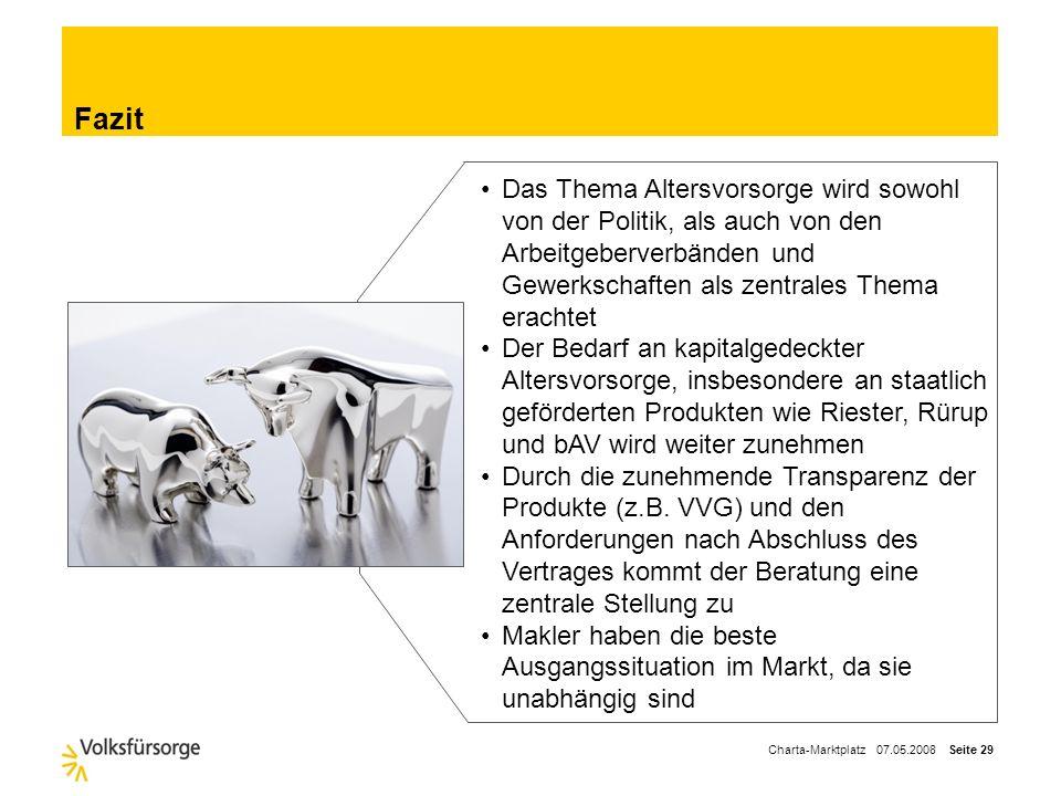 Charta-Marktplatz 07.05.2008 Seite 28 Fazit Makler Fachkompetenz (z.T. über geeigneten Anbieter) Anforderungen Entscheidungsträger fair, nachvollziehb