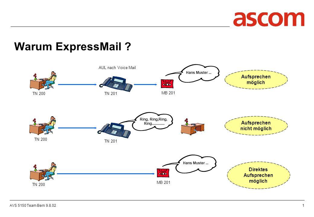 AVS 5150 Team Bern 9.8.022 Ohne ExpressMail : ExpressMail, die Lösung .