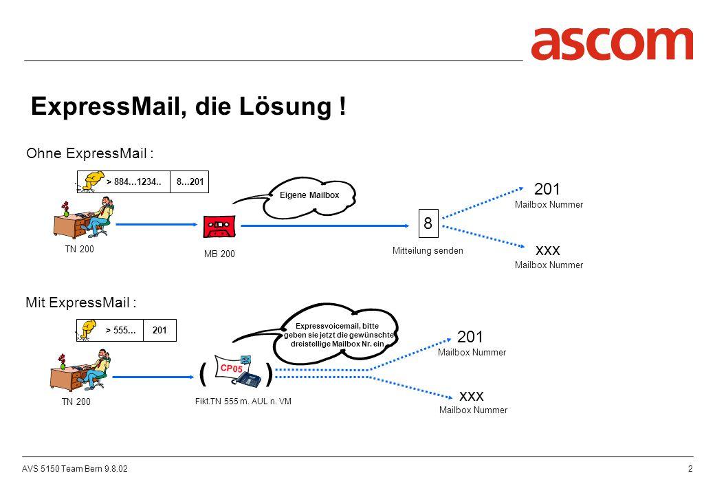 AVS 5150 Team Bern 9.8.023 Routing Tabelle Umgel.Int-UmgelNr.> 555 > CP05 Intern 200 Expressvoicemail, bitte geben sie jetzt die gewünschte dreistellige Mailbox Nr.