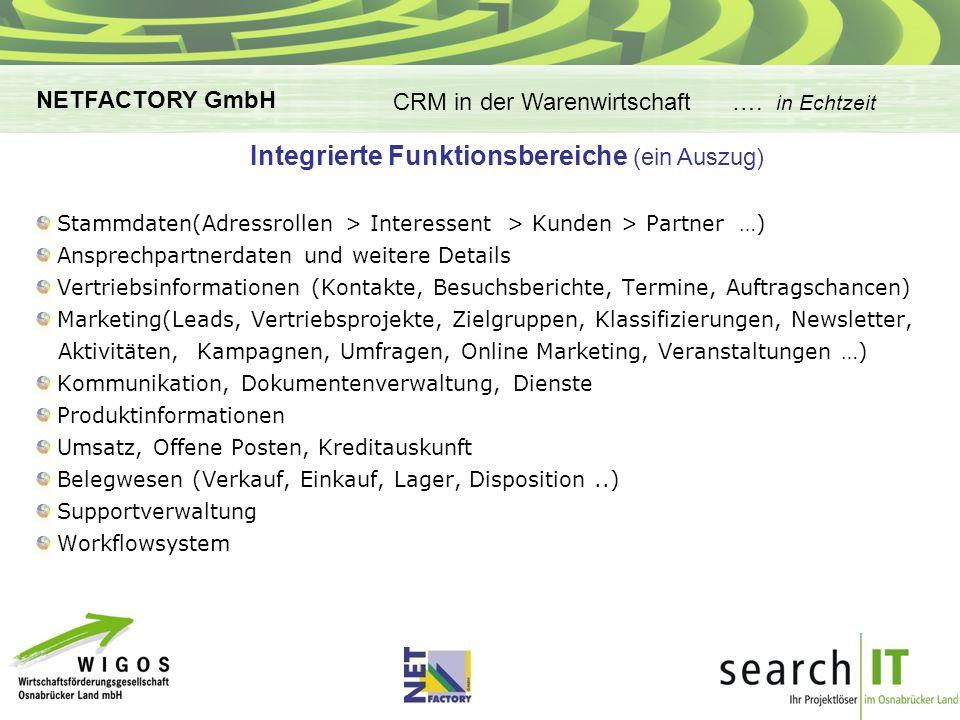 CRM-Applikationen in der Warenwirtschaft Integrierte Funktionsbereiche (ein Auszug) CRM in der Warenwirtschaft ….