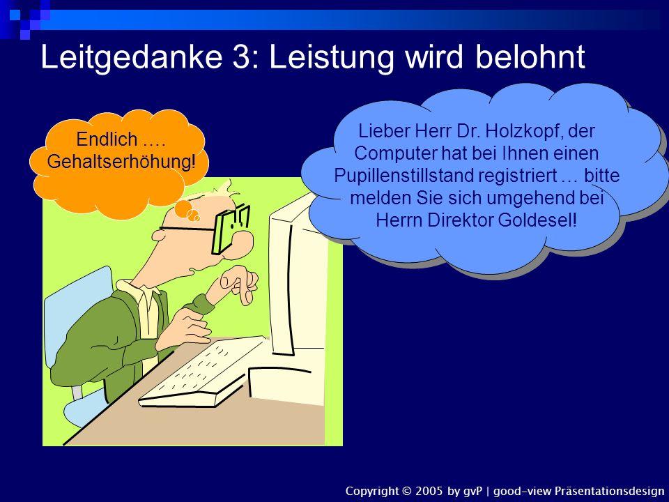 Leitgedanke 2: Die Förderung der Mitarbeiter hat Priorität Herr Direktor Goldesel Herr Direktor Goldesel Herr Höhenflug Herr Höhenflug... Ach was, völ