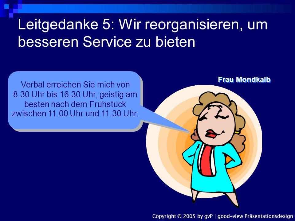 Leitgedanke 4: Der Beitrag unserer Mitarbeiter ist uns wichtig Frau Mondkalb, bitte stellen Sie sofort fest, was ich in der Konferenz gesagt habe, was