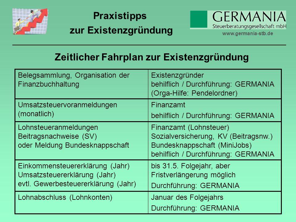 www.germania-stb.de Praxistipps zur Existenzgründung Zeitlicher Fahrplan zur Existenzgründung Januar des Folgejahrs Durchführung: GERMANIA Lohnabschluss (Lohnkonten) bis 31.5.