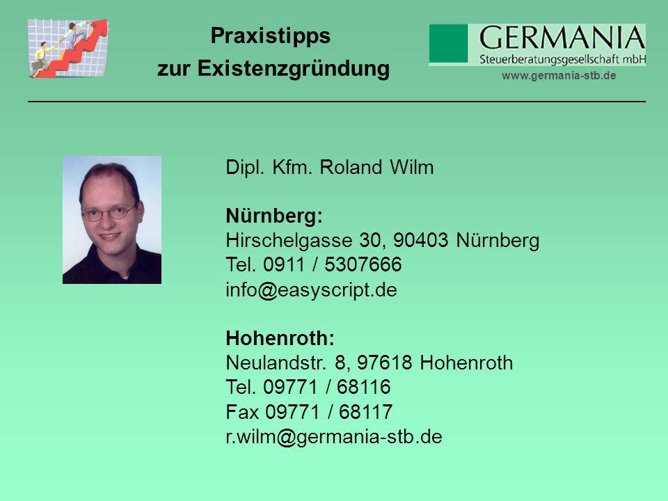 www.germania-stb.de Praxistipps zur Existenzgründung Dipl.