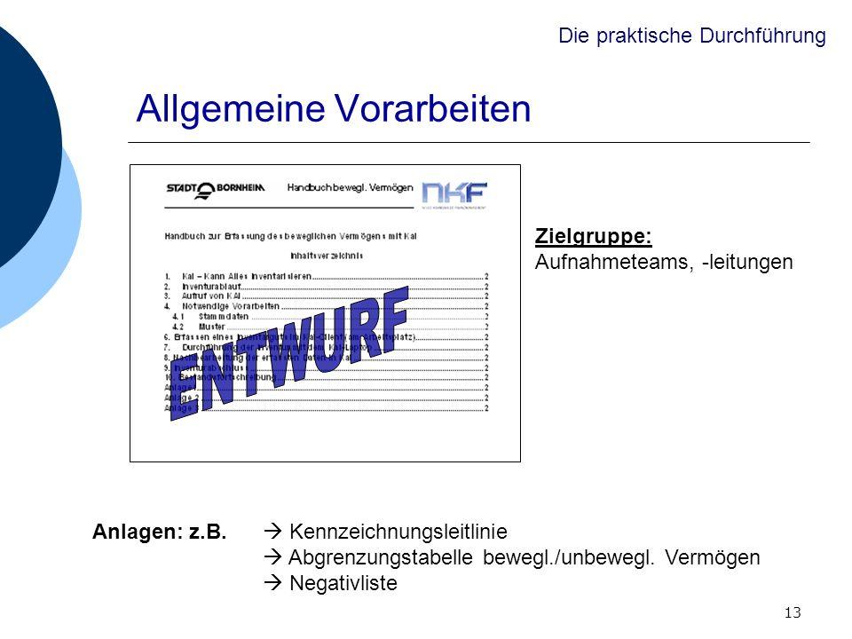 13 Allgemeine Vorarbeiten Die praktische Durchführung Zielgruppe: Aufnahmeteams, -leitungen Anlagen: z.B. Kennzeichnungsleitlinie Abgrenzungstabelle b