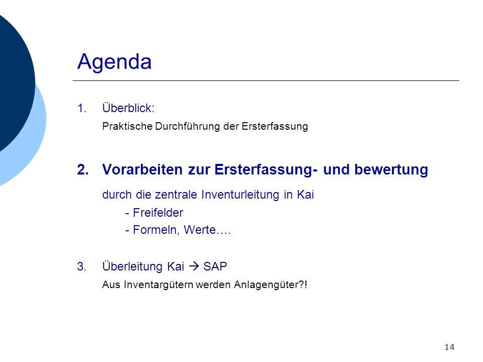 14 Agenda 1.Überblick: Praktische Durchführung der Ersterfassung 2.Vorarbeiten zur Ersterfassung- und bewertung durch die zentrale Inventurleitung in