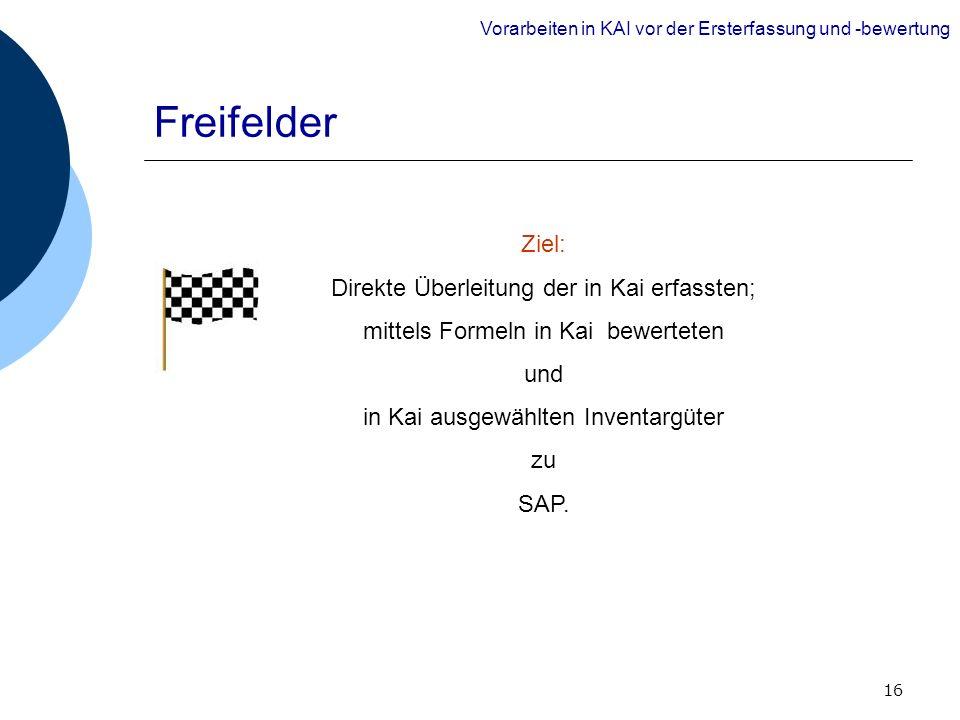 16 Freifelder Ziel: Direkte Überleitung der in Kai erfassten; mittels Formeln in Kai bewerteten und in Kai ausgewählten Inventargüter zu SAP. Vorarbei