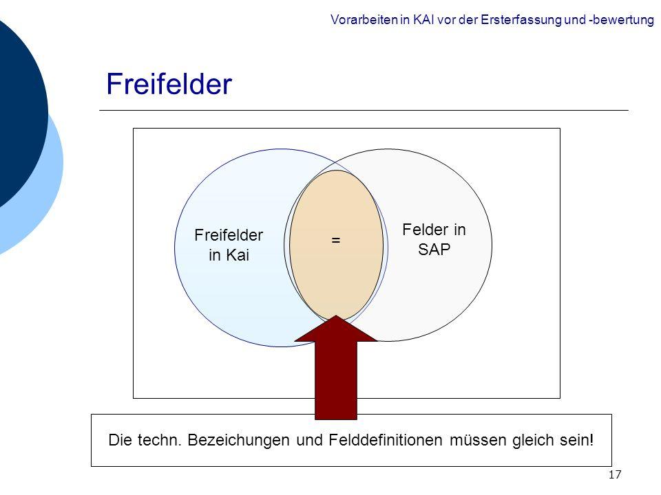 17 Freifelder Die techn. Bezeichungen und Felddefinitionen müssen gleich sein! Freifelder in Kai Felder in SAP = Vorarbeiten in KAI vor der Ersterfass