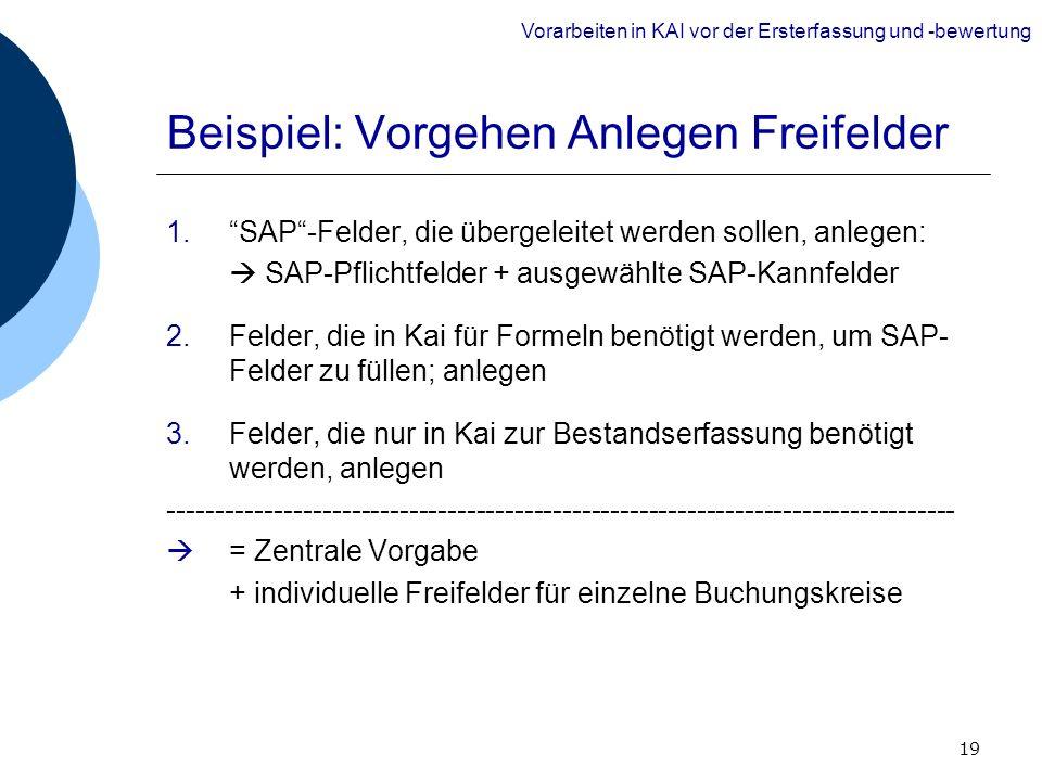 19 Beispiel: Vorgehen Anlegen Freifelder 1.SAP-Felder, die übergeleitet werden sollen, anlegen: SAP-Pflichtfelder + ausgewählte SAP-Kannfelder 2.Felde