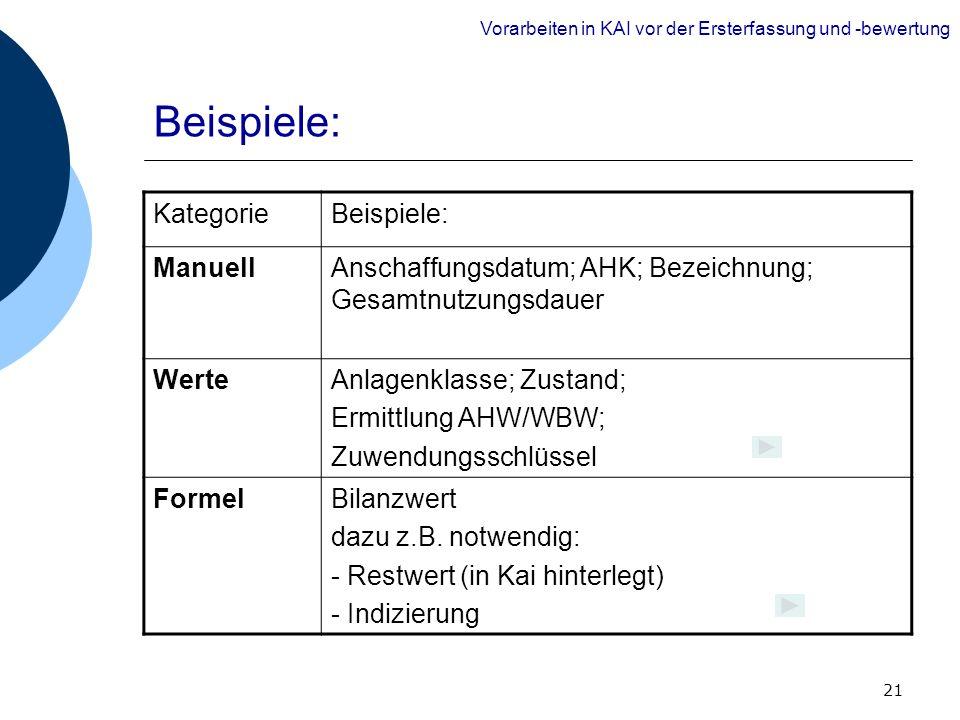 21 Beispiele: Vorarbeiten in KAI vor der Ersterfassung und -bewertung KategorieBeispiele: ManuellAnschaffungsdatum; AHK; Bezeichnung; Gesamtnutzungsda