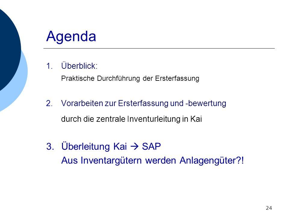 24 Agenda 1.Überblick: Praktische Durchführung der Ersterfassung 2.Vorarbeiten zur Ersterfassung und -bewertung durch die zentrale Inventurleitung in