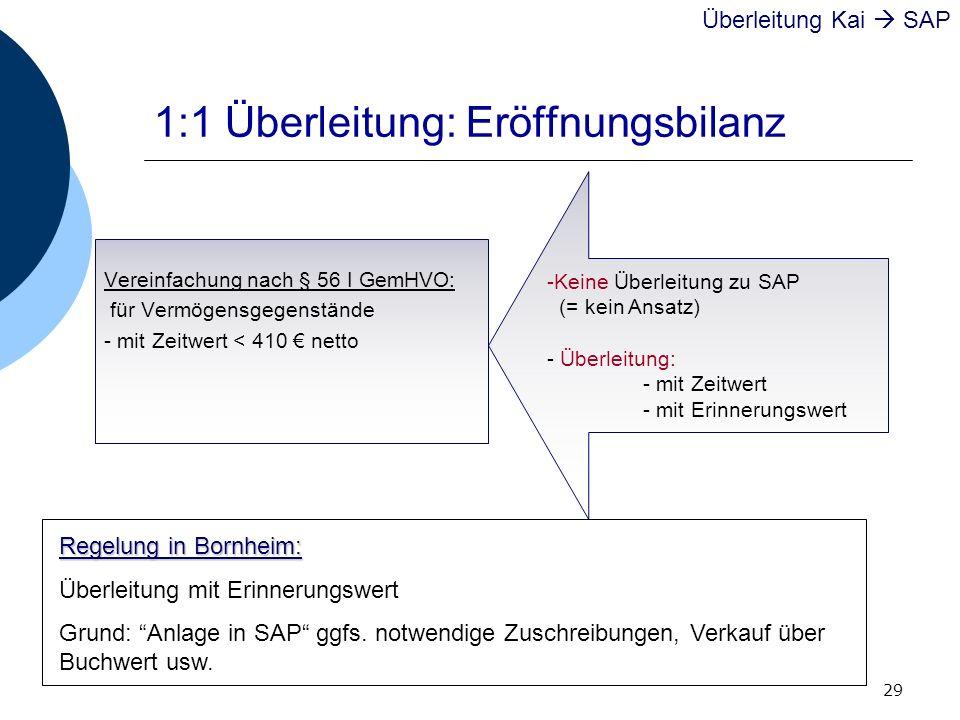 29 1:1 Überleitung: Eröffnungsbilanz Vereinfachung nach § 56 I GemHVO: für Vermögensgegenstände - mit Zeitwert < 410 netto Überleitung Kai SAP -Keine
