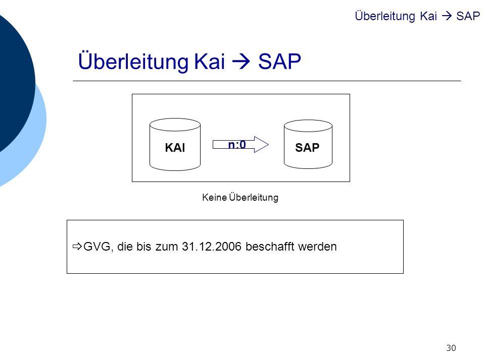 30 GVG, die bis zum 31.12.2006 beschafft werden Überleitung Kai SAP KAI SAP n:0 Keine Überleitung Überleitung Kai SAP