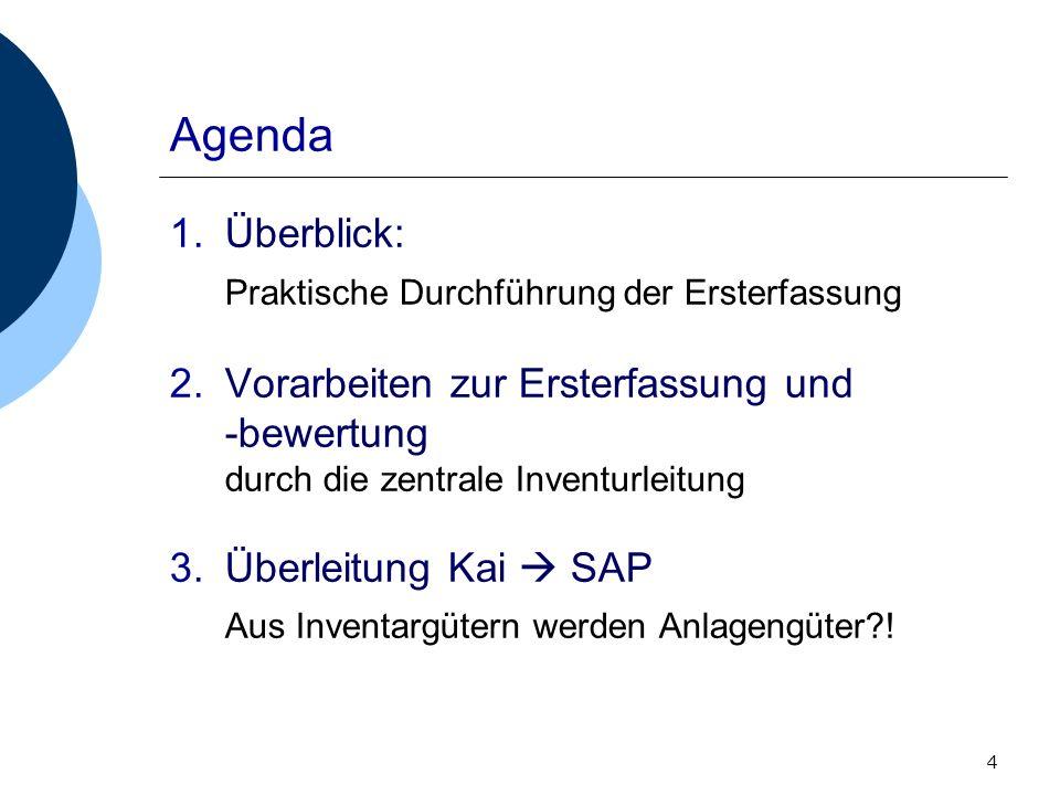4 Agenda 1.Überblick: Praktische Durchführung der Ersterfassung 2.Vorarbeiten zur Ersterfassung und -bewertung durch die zentrale Inventurleitung 3.Üb