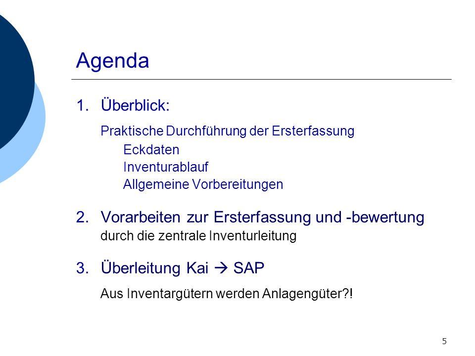 5 Agenda 1.Überblick: Praktische Durchführung der Ersterfassung Eckdaten Inventurablauf Allgemeine Vorbereitungen 2.Vorarbeiten zur Ersterfassung und