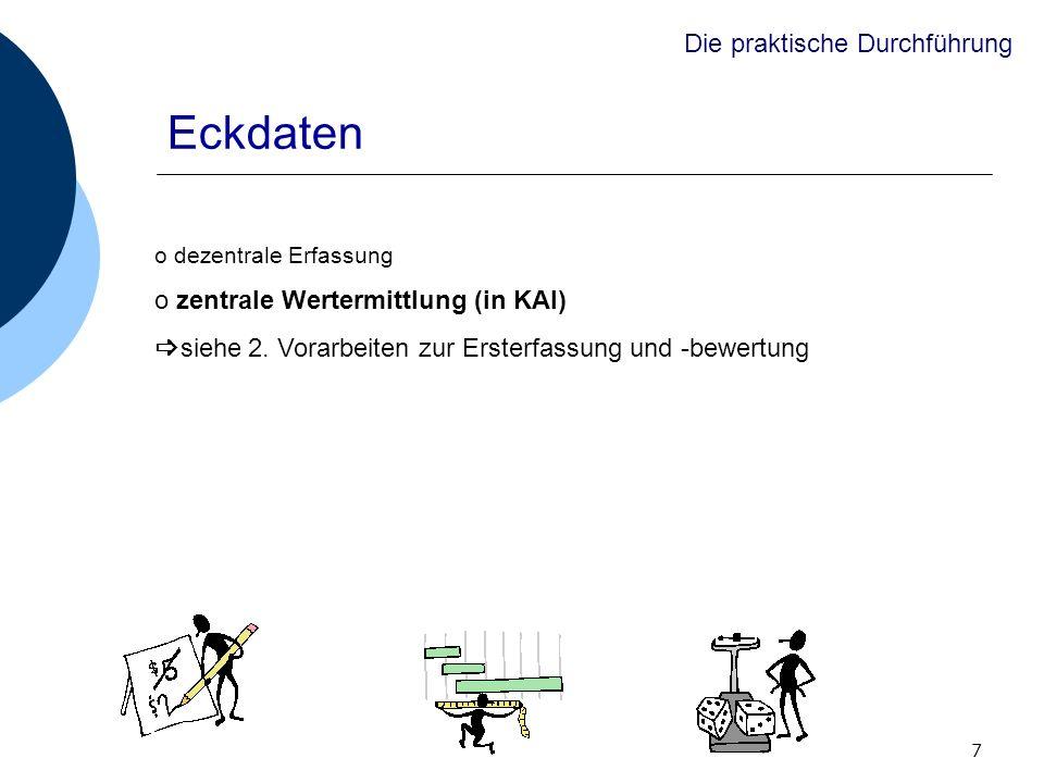7 Eckdaten o dezentrale Erfassung o zentrale Wertermittlung (in KAI) siehe 2. Vorarbeiten zur Ersterfassung und -bewertung Die praktische Durchführung