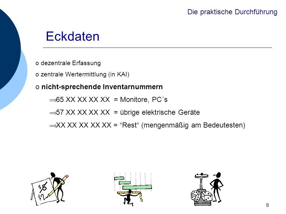 8 o dezentrale Erfassung o zentrale Wertermittlung (in KAI) o nicht-sprechende Inventarnummern 65 XX XX XX XX = Monitore, PC´s 57 XX XX XX XX = übrige