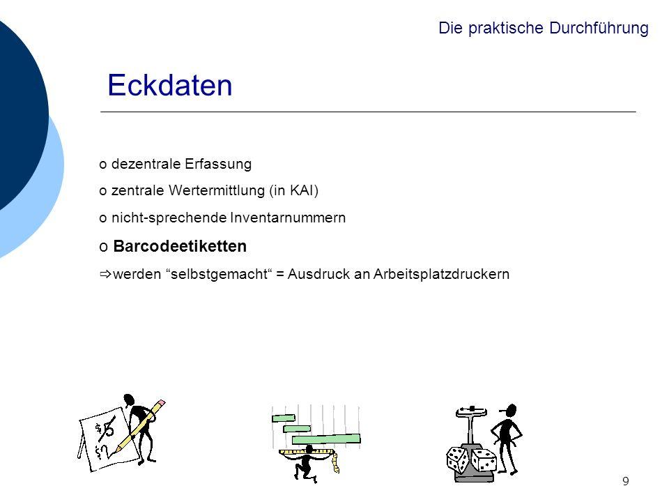 9 Eckdaten o dezentrale Erfassung o zentrale Wertermittlung (in KAI) o nicht-sprechende Inventarnummern o Barcodeetiketten werden selbstgemacht = Ausd
