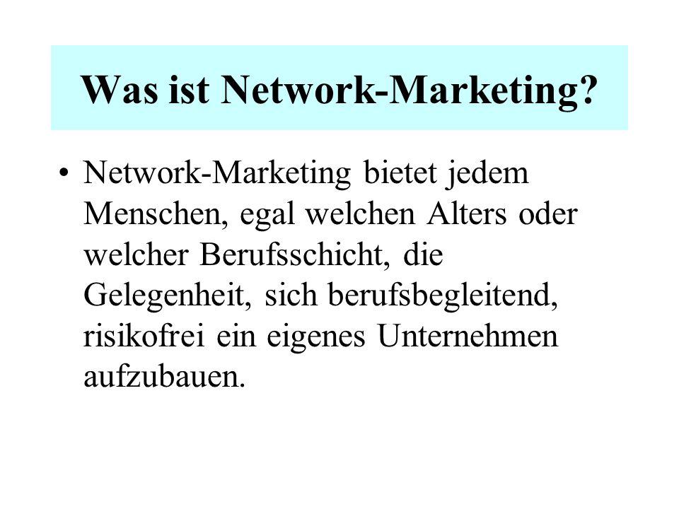 Was ist Network-Marketing? Network-Marketing ist eine äußerst effektive Methode der Vermarktung von Waren und Dienstleistungen. Ein bewährtes und erpr